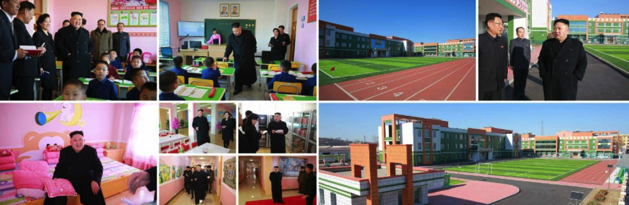Photo spread of Kim Jong Un's visit to the Pyongyang Orphans' School which appeared on the top of page 2 of the February 2, 2017 edition of the WPK daily newspaper Rodong Sinmun (Photos: Rodong Sinmun/KCNA/Korean Press Media).
